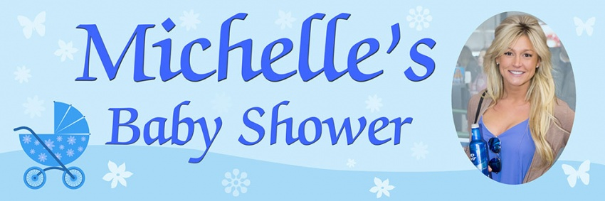 Baby Shower banner blue with pram and photo