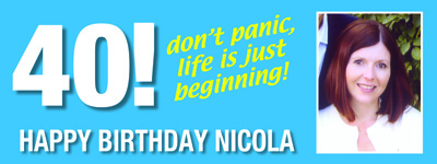 Don't panic life is just beginning 40th Birthday Banner