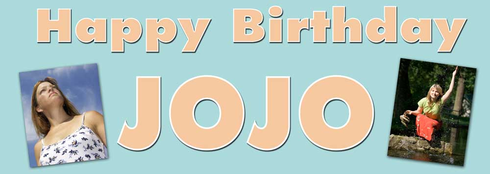 2 photos birthday banner with angled pictures