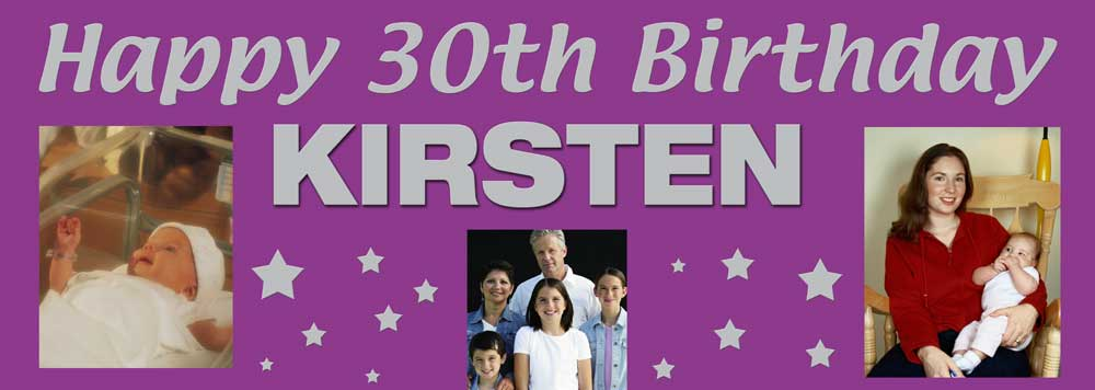 3 photos birthday banner with stars in background