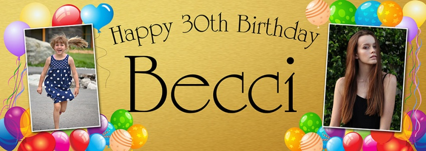 2 photos birthday banner with balloon background