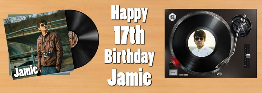 Vinyl record and sleeve birthday banner