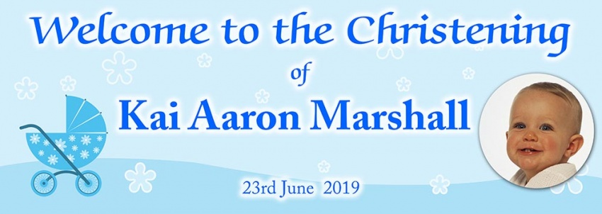 Christening banner with pram and photograph