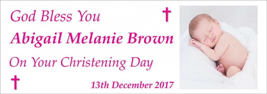 Christening Day Banner pink version– ''God Bless You''