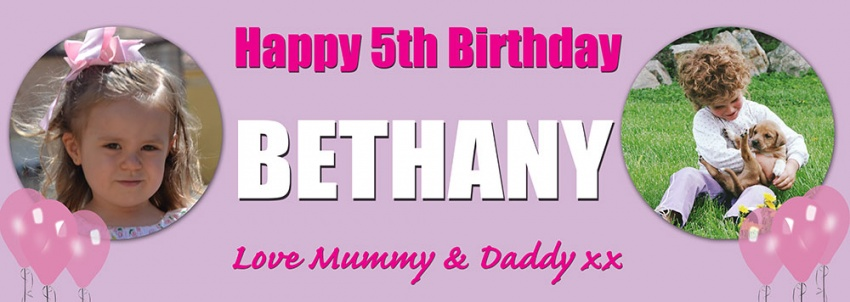 Two photos childs birthday banner
