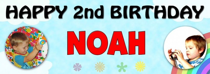 Birthday banner with clouds and rainbow background