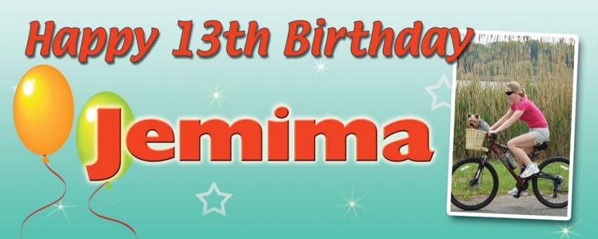 Birthday banner with stars, balloons and large picture