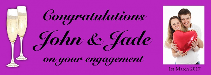 Engagement banner with photo and champagne flutes image