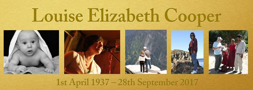 Memorial Banner, gold background with up to 6 photographs
