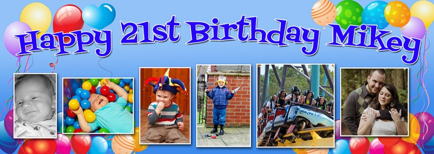 Balloon background birthday banner with up to 6 pictures