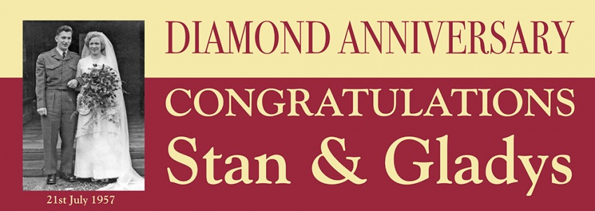 Diamond Wedding Anniversary Banner with photograph