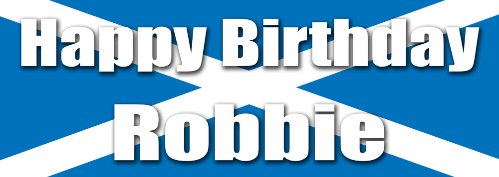 Personalised Birthday Banner On A Scottish Flag Background