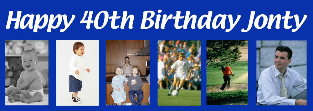 this is your life birthday banner up to 6 photos personalised banners