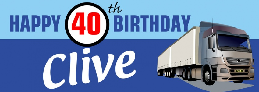 Trucker birthday banner