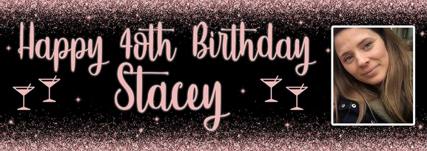 Rose Gold Shimmer birthday banner with large photo