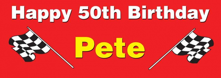 Racing chequered flag birthday banner
