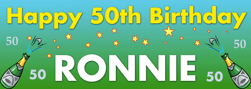 Champagne and stars style birthday banner