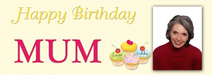 Cupcake Happy Birthday Banner