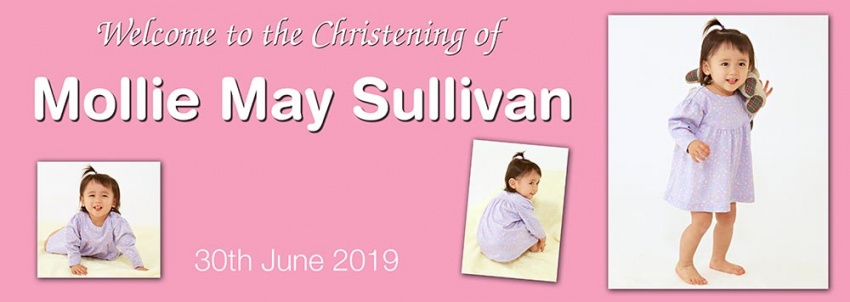 Christening Banner with 3 photos