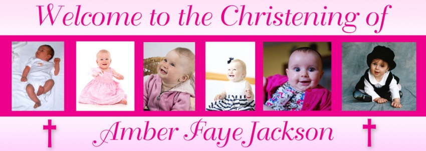 Christening Banner with 6 photos