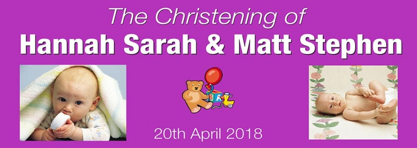Christening Banner with 2 photos