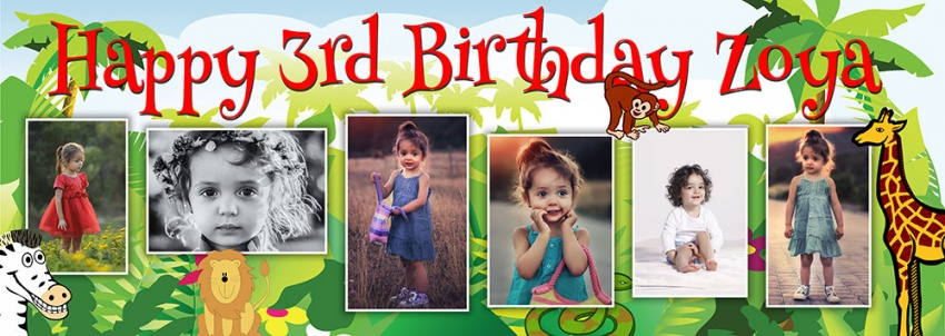 Jungle background birthday banner with up to 6 photos