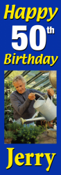 Upright banner for a birthday
