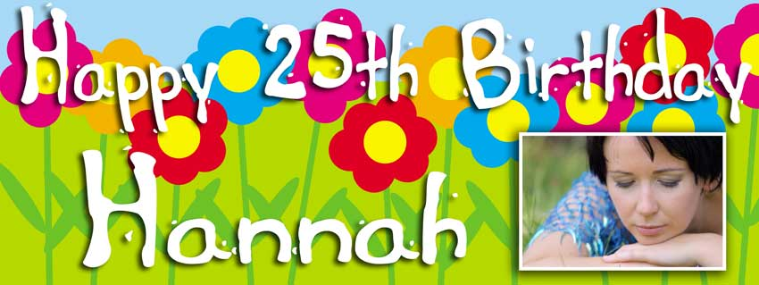 Flower background colourful birthday banner