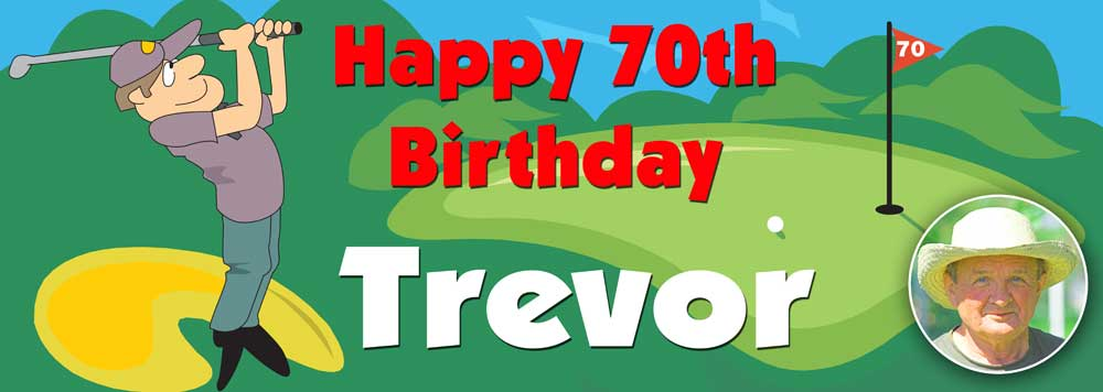 Golf themed personalised birthday banner