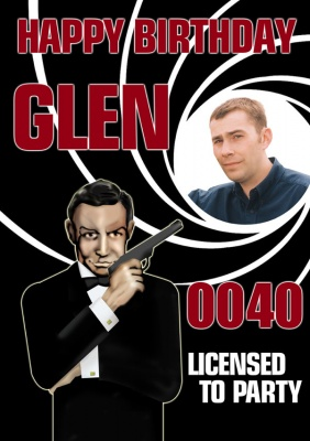 James Bond style birthday poster with a photo