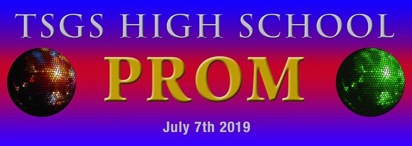 School Prom banner with disco balls background