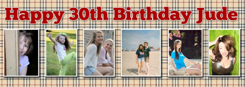 This is your life Birthday Banner 6 photos on check pattern