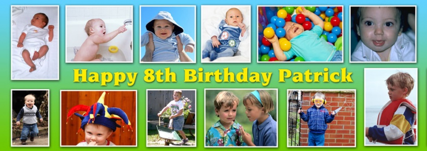 12 photo personalised birthday banner