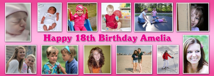 12 picture personalised birthday banner