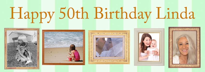 Photo frame birthday banner with up to 5 pictures