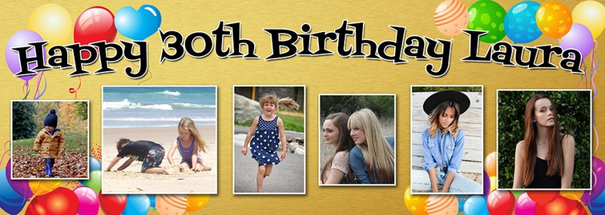 Gold  background birthday banner with up to 6 photos