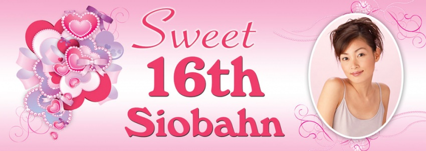 Sweet 16th birthday banner with hearts and ribbons