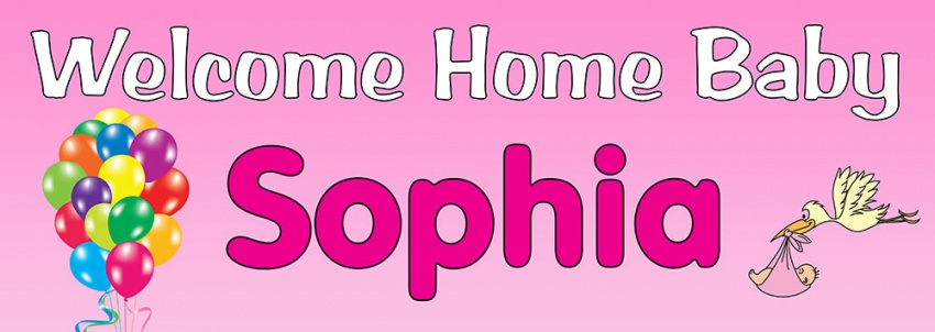 Welcome home new baby banner personalised banners for Baby welcome home decoration
