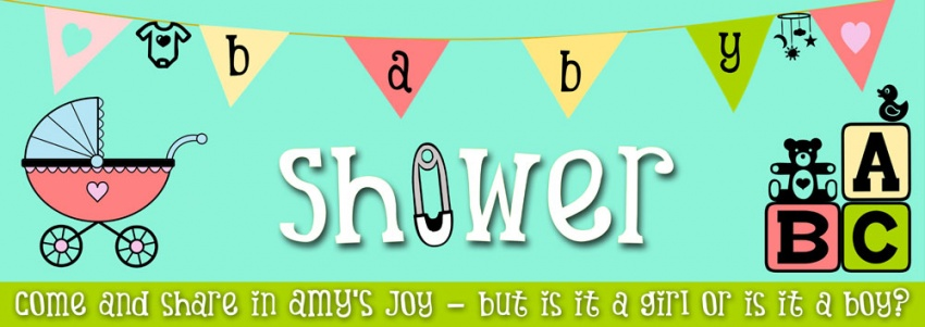 Baby Shower banner with bunting background