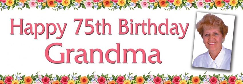 Grandma birthday banner with flowers