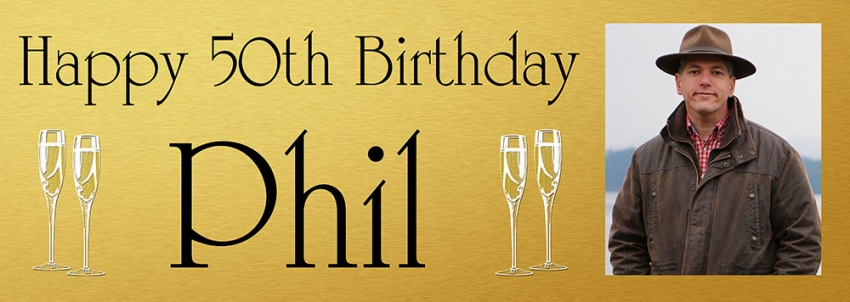 Gold background birthday banner with photo