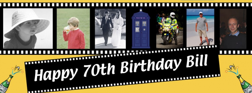 Filmstrip 6 photo birthday banner with champagne bottles