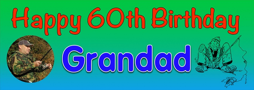 Fishing birthday banner with cartoon and photograph