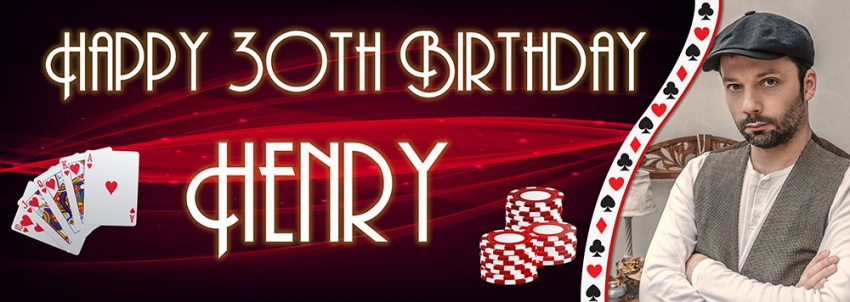 Poker style birthday banner with photo