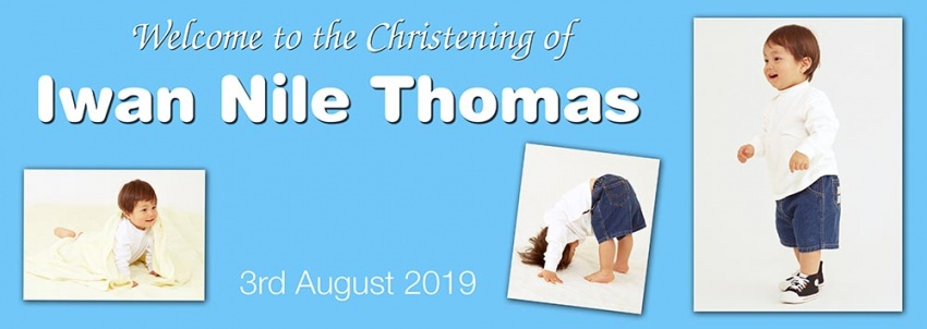 Christening banner for a boy with 3 photographs