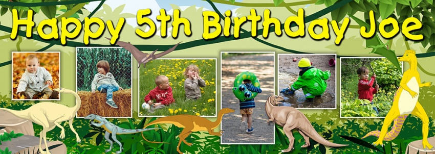 Dinosaur birthday banner with up to 6 photos