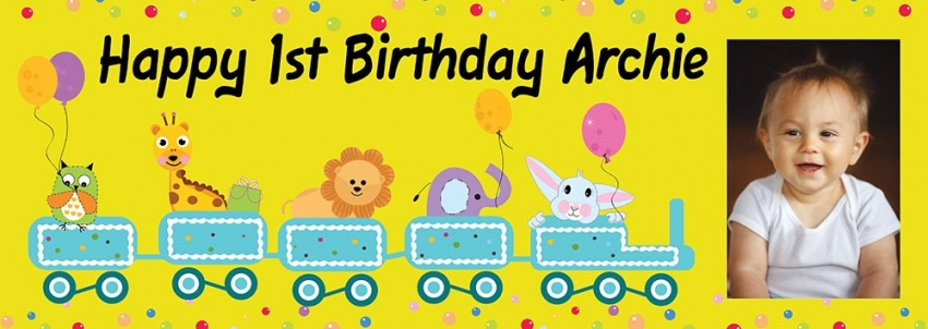 Animal  Party Train  child's banner wth photo