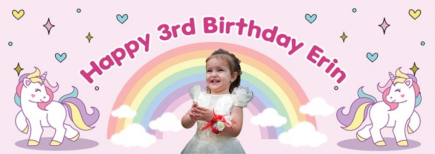 Rainbow Unicorn child's  birthday banner