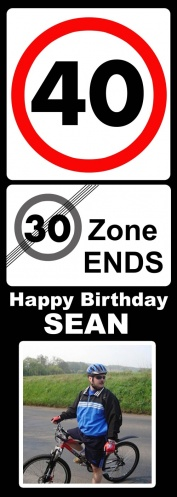 Zone Ends 40th Upright Birthday Door Banner