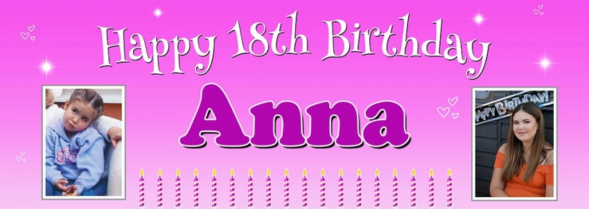 Hearts & Candles party banner with two pics